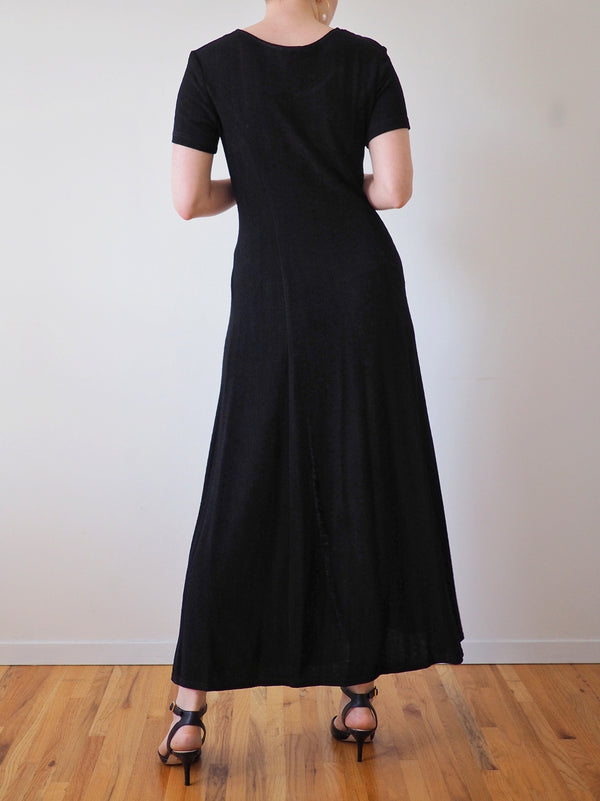 Vintage Black Short Sleeve Button Front Dress