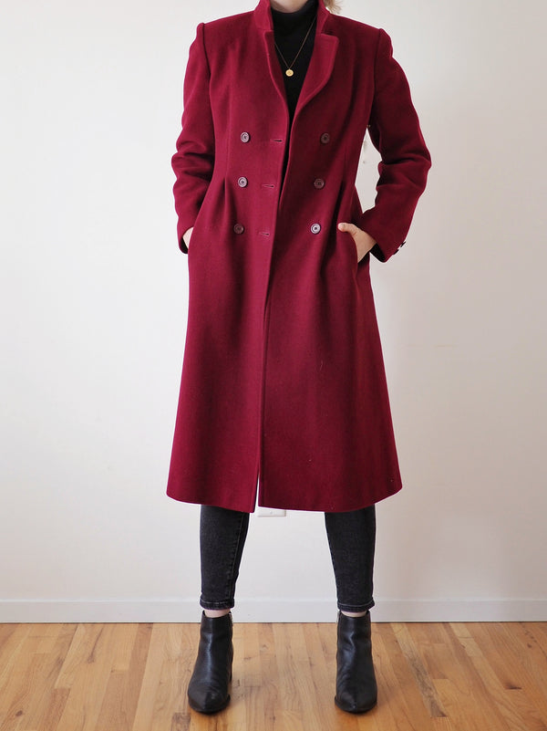 Vintage Maroon Military Wool Coat