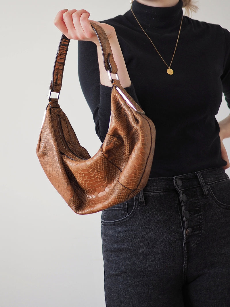 Vintage Genuine Python Snakeskin Shoulder Bag