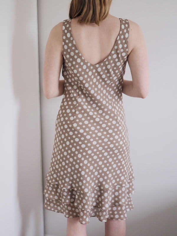 Vintage Brown and White Polka Dot Summer Dress