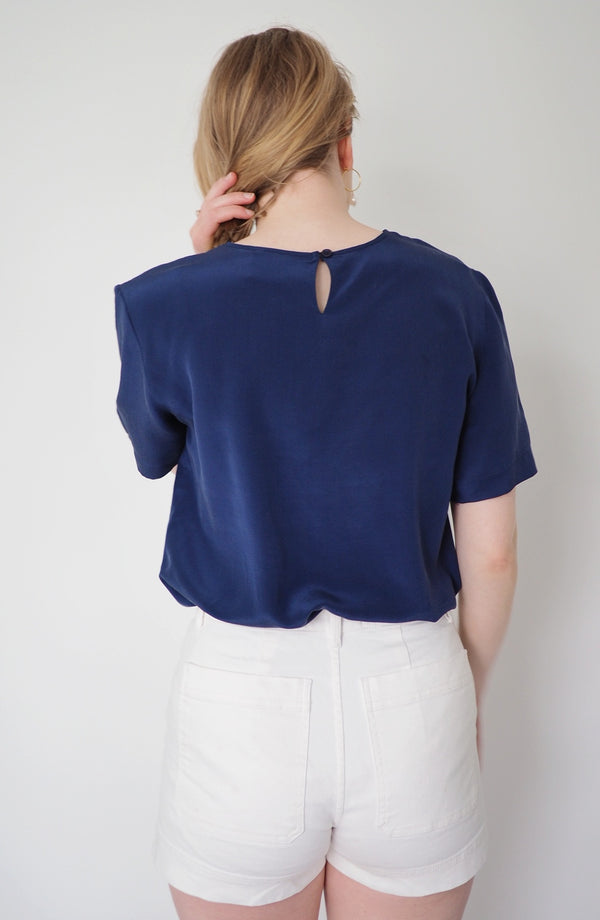 Vintage Steel Blue Silk Blouse