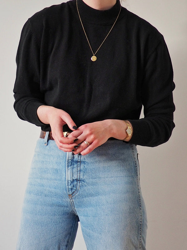 Vintage Black Cotton Sweater