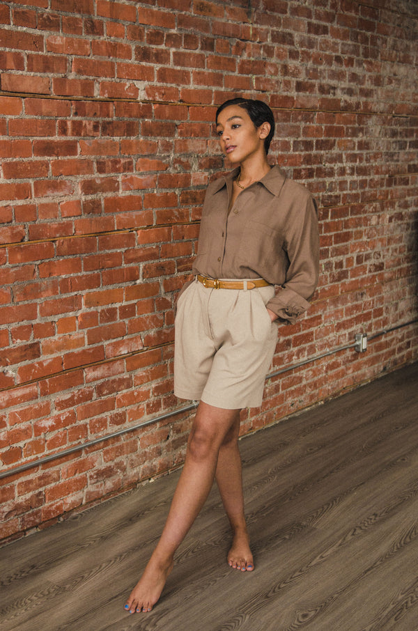 Vintage Beige High Waisted Shorts