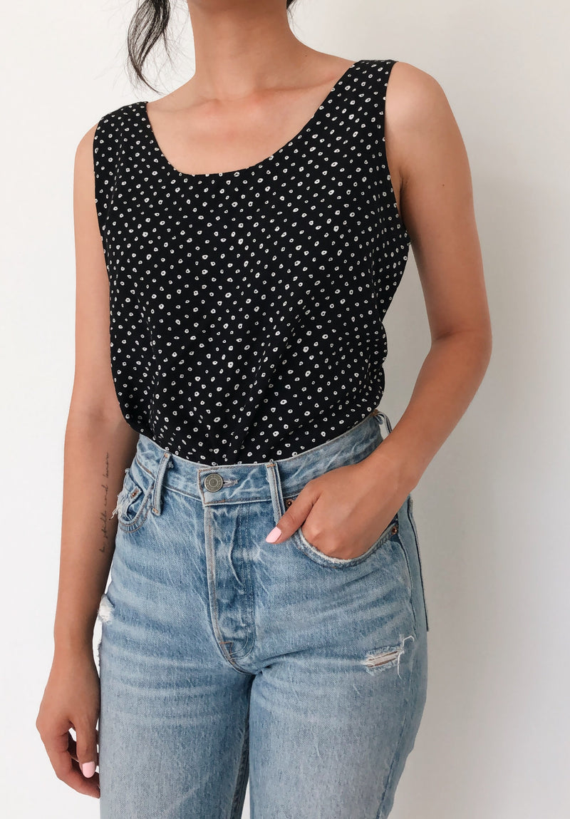 Vintage Polka-Dot Black Sleeveless Blouse