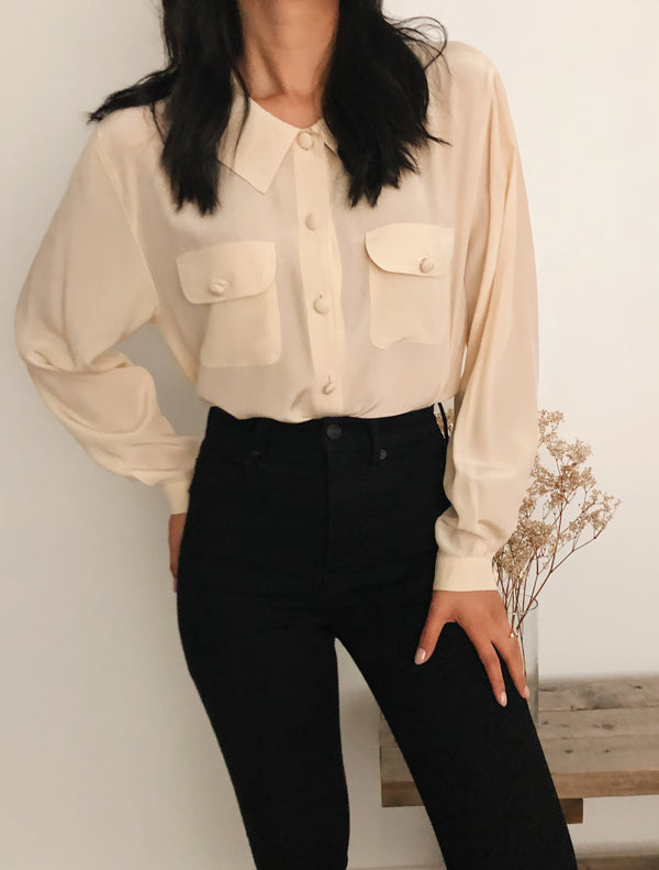 Vintage Silk Dual-Pocket Blouse
