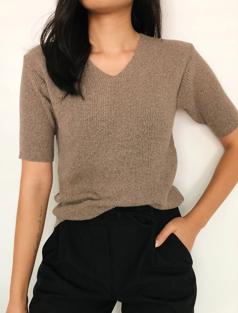 Vintage Taupe Ribbed Top