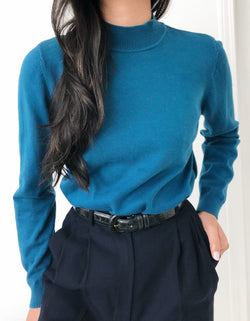 Teal Mock Neck Sweater