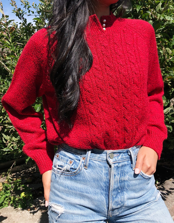 Marled Red Cable Knit Sweater
