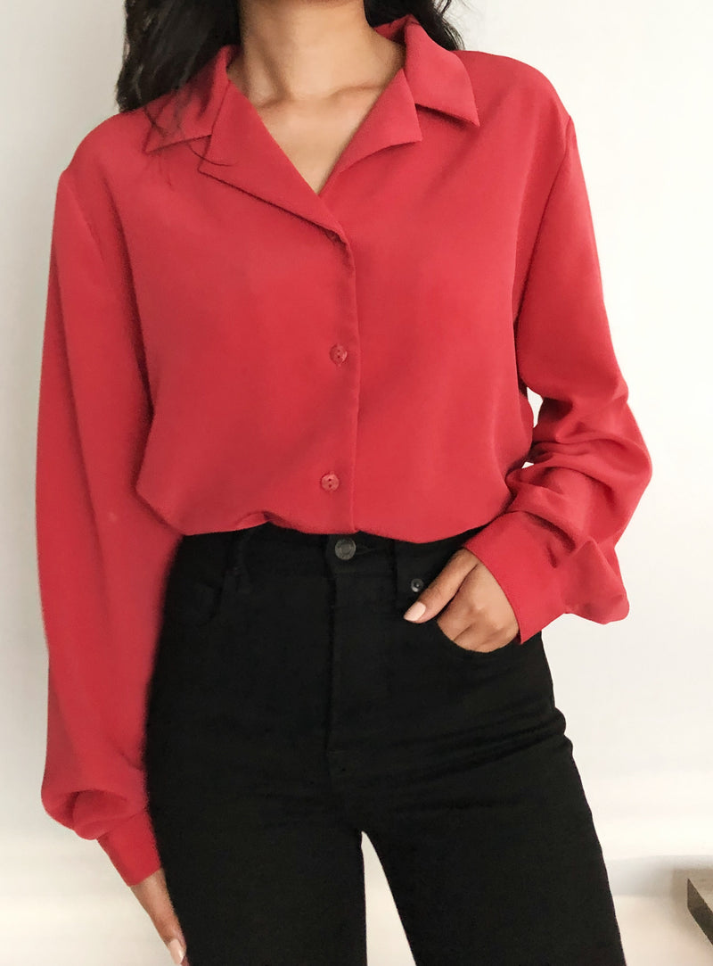 Vintage Magenta Button-Up Blouse