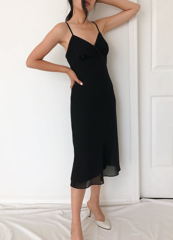 Vintage Black Slip Midi Dress