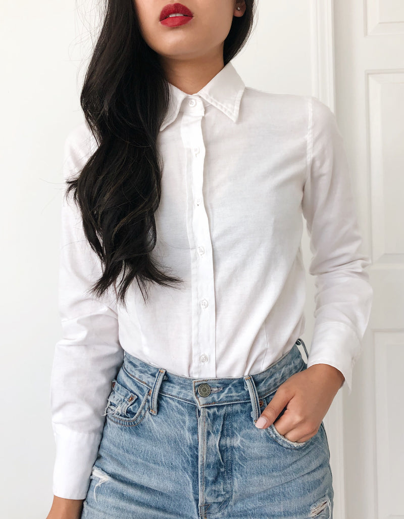 Basic White Button-Up Shirt