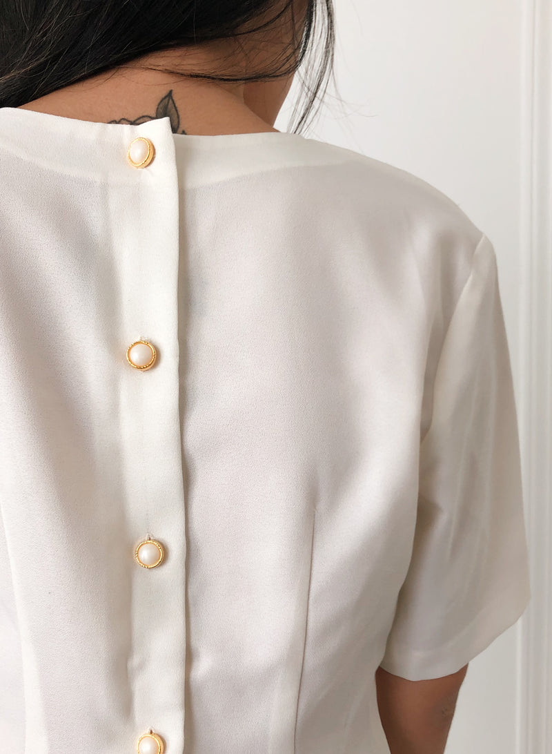 Vintage Ivory Half-Sleeve Button Blouse