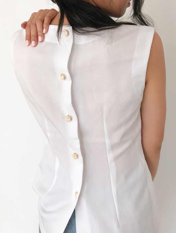 Vintage White Button-Back Blouse