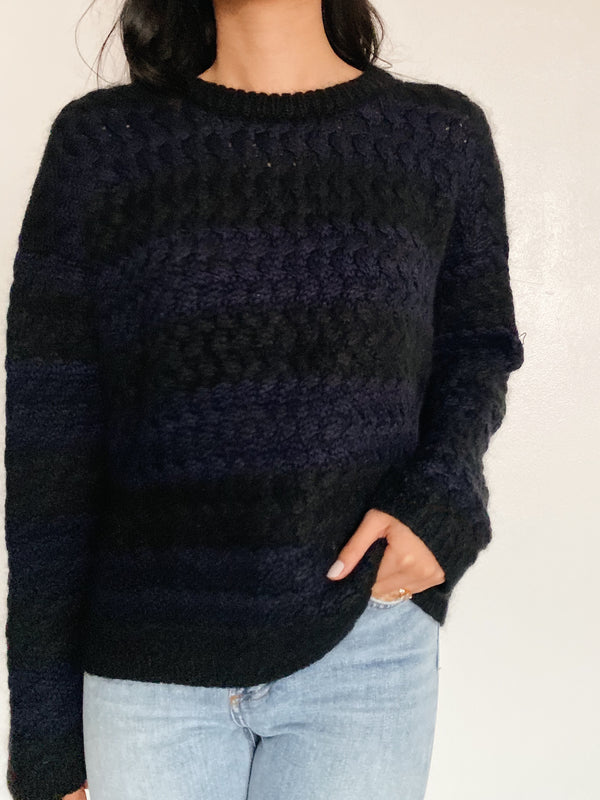 Black and Navy Striped Sweater