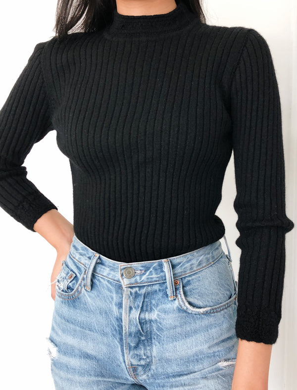 Vintage Black Wool Sweater with Detailed Trim