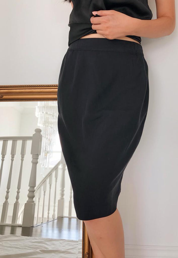 Vintage Black Silk Pencil Skirt
