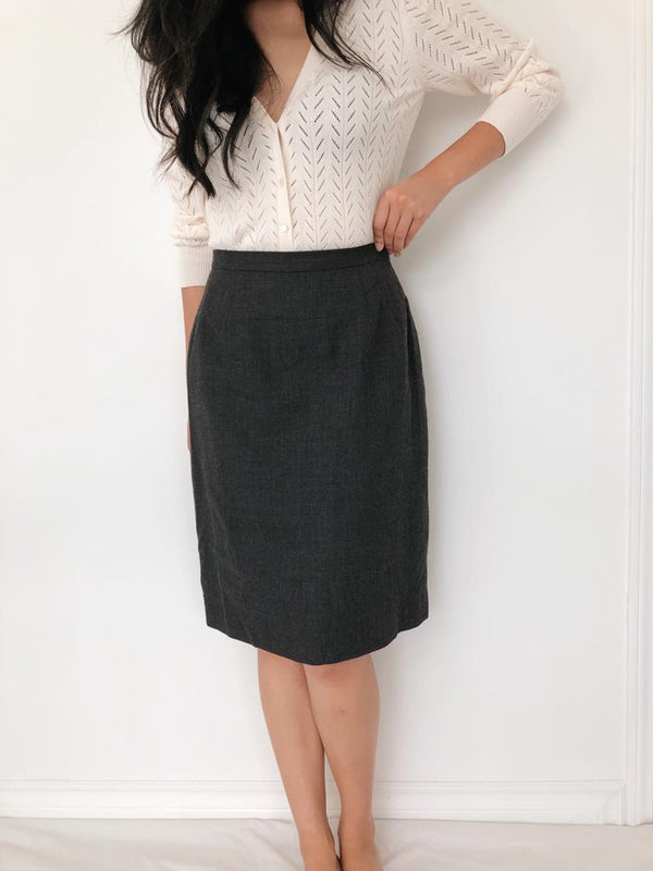 Vintage Charcoal Wool Pencil Skirt