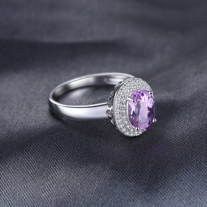 OVAL Halo Anniversary CREATED AMETHYST ENGAGEMENT RING