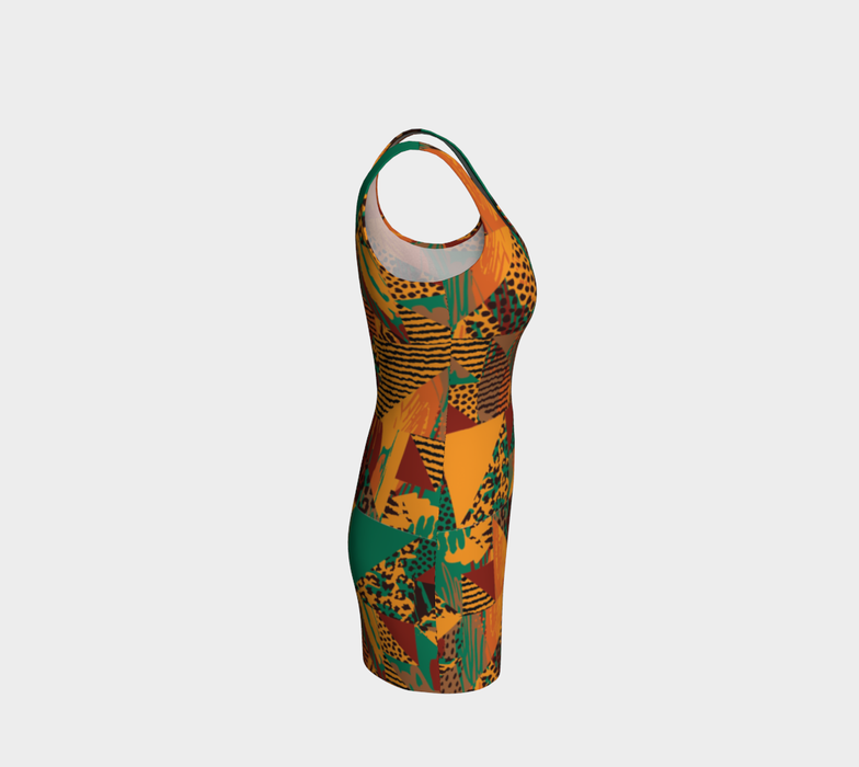 Abstract Safari Print Bodycon Dress