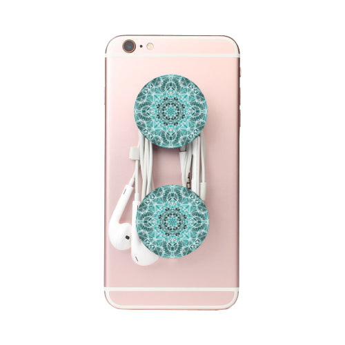 Turquoise & Gray Kaleidescope - White Multi-function Cell Phone Stand