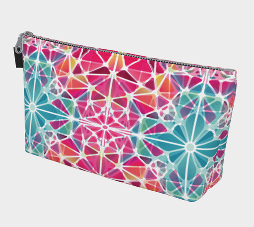 Pink and Blue Kaleidoscope Makeup Bag