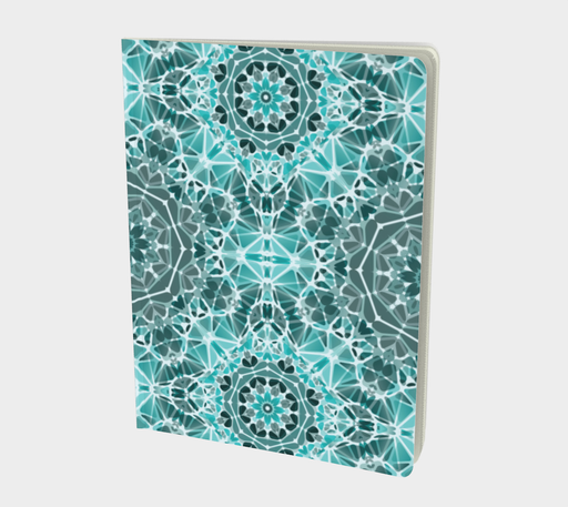 Turquoise & Gray Kaleidoscope Notebook - Large