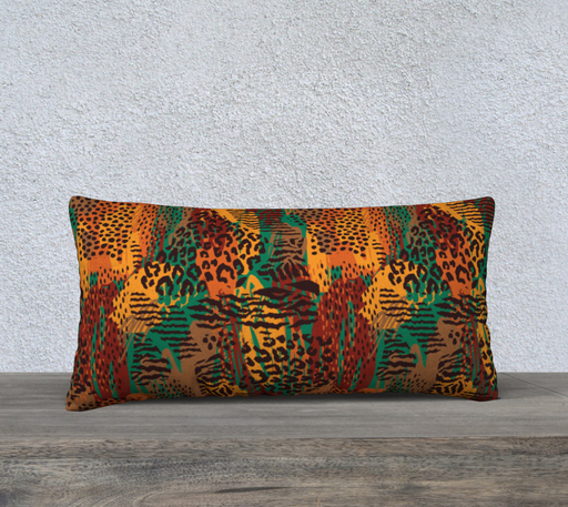 "Safari Animal Print Mashup 24"" x 12"" Decorative Pillow Case"