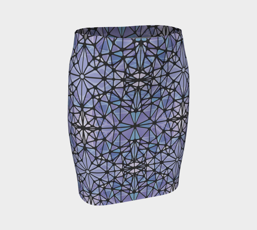 Purple and Blue Kaleidoscope Fitted Skirt