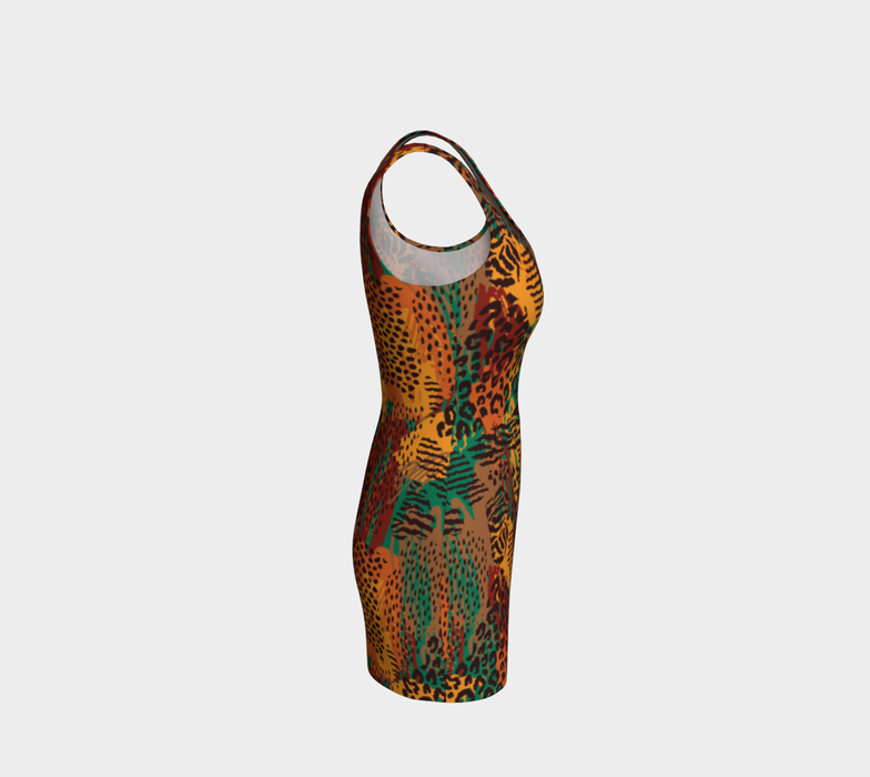 Safari Animal Print Mashup Bodycon Dress