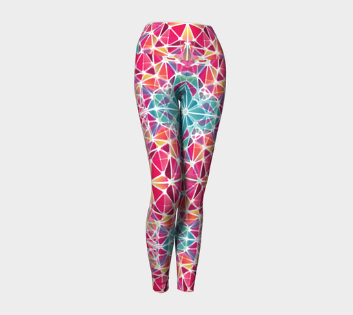 Pink and Blue Kaleidoscope Yoga Leggings