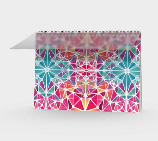 Pink and Blue Kaleidoscope Spiral Notebook - Landscape