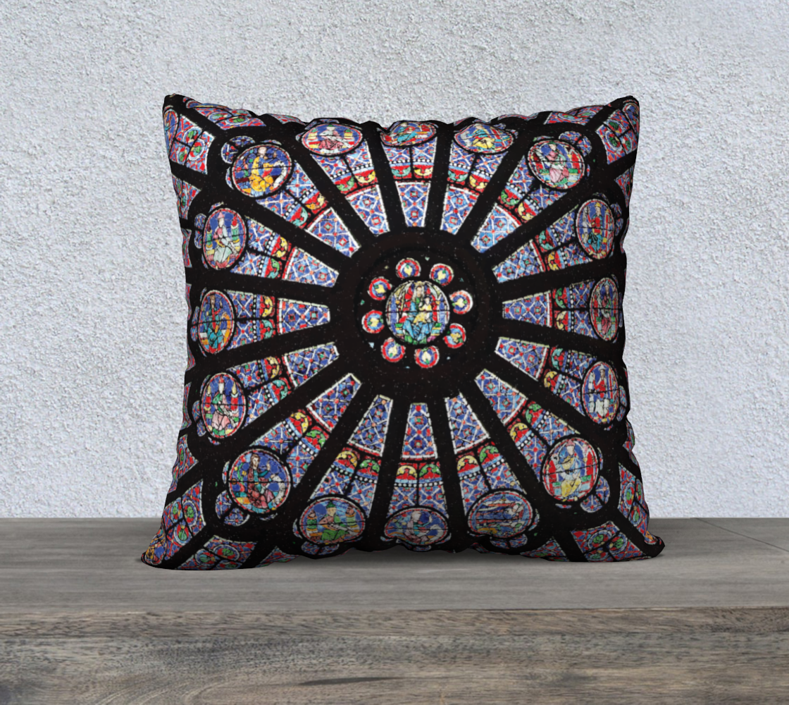 "Rose South Window, Notre Dame Paris 22"" x 22"" Decorative Pillow Case"