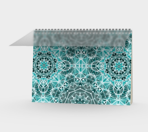 Turquoise & Gray Kaleidoscope Spiral Notebook - Landscape