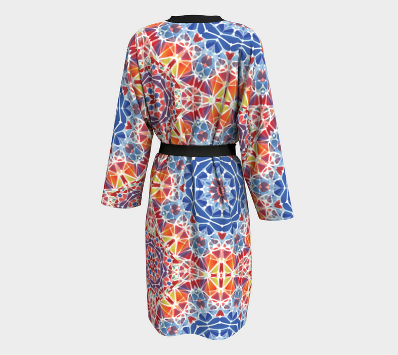 Blue and Orange Kaleidoscope Peignoir