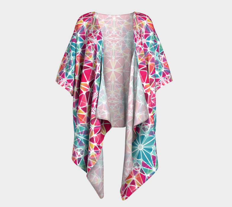 Pink and Blue Kaleidoscope Draped Kimono
