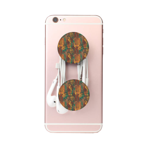 Safari Print Mashup - Black Multi-function Cell Phone Stand