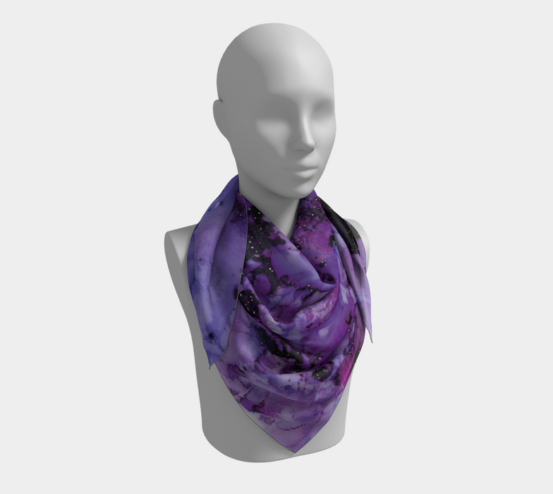 Watercolor Swirls L - Purple & Black,  Square Scarf