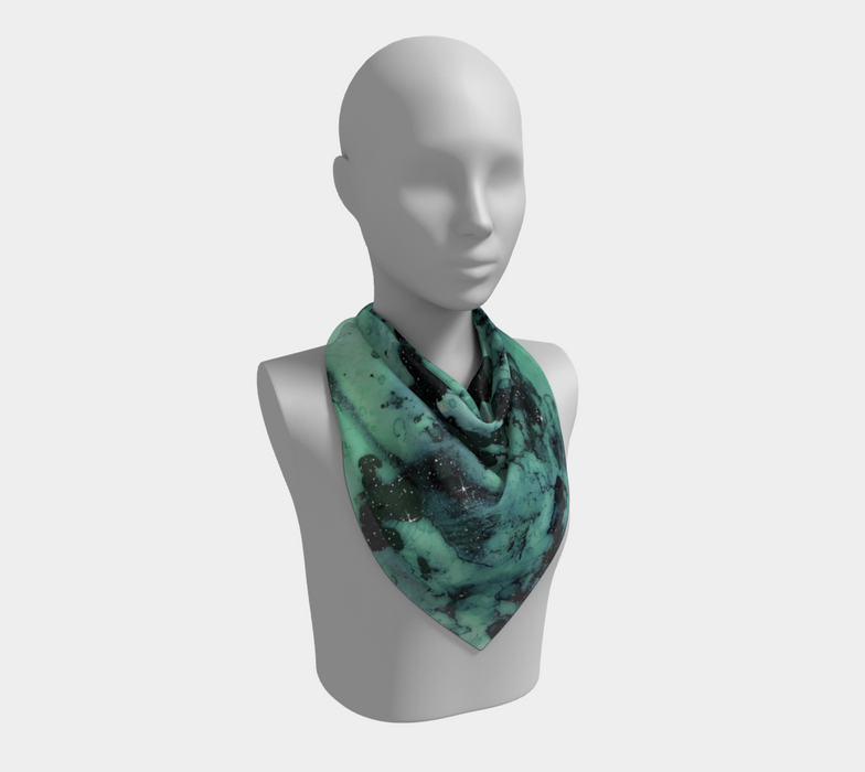 Watercolor Swirls G - Turquoise & Black, Square Scarf