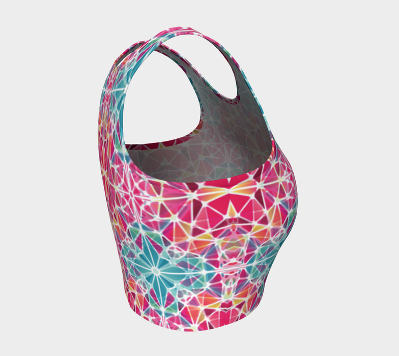 Pink and Blue Kaleidoscope Athletic Crop Top