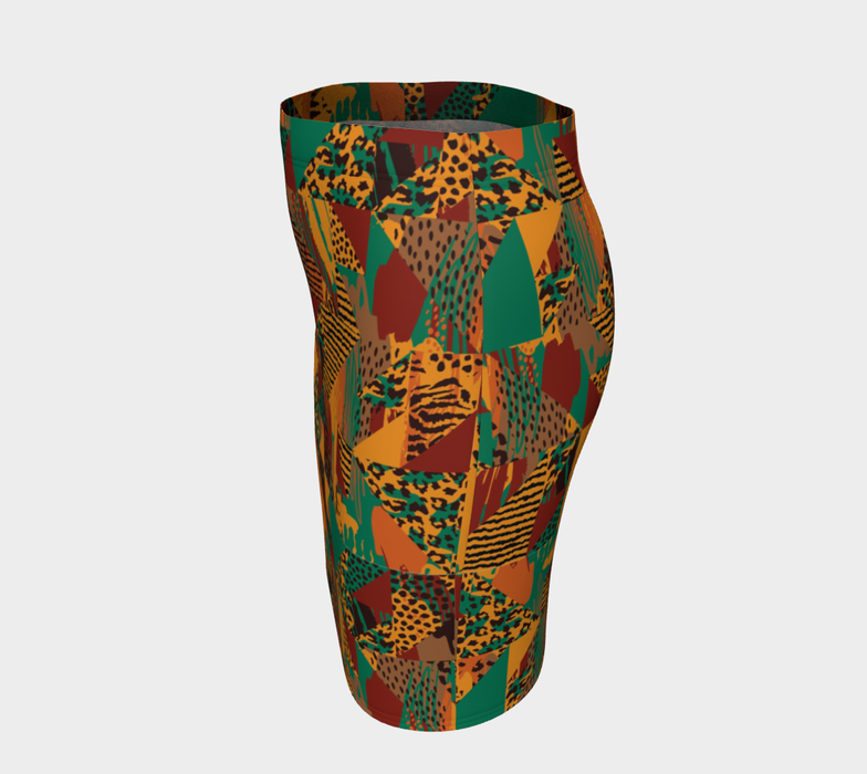 Abstract Safari Print Fitted Skirt