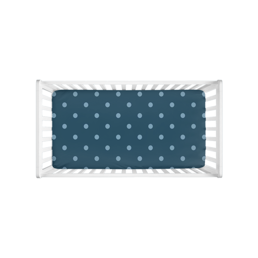 Sweet Dreams, Baby Boy! Blue Polka Dots Crib Sheet