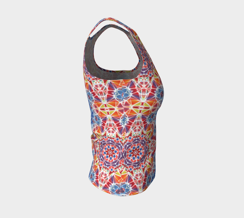 Blue and Orange Kaleidoscope Fitted Tank Top