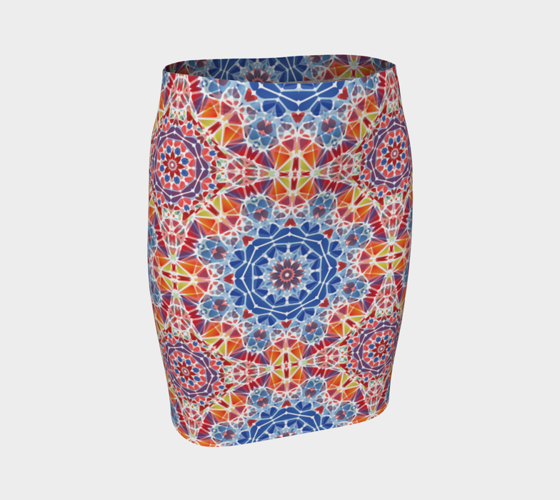Blue and Orange Kaleidoscope Fitted Skirt
