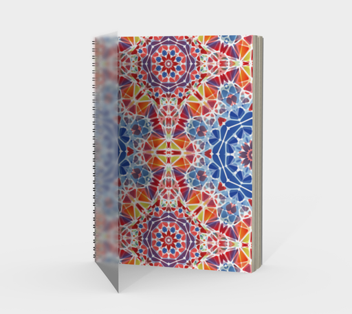 Blue and Orange Kaleidoscope Spiral Notebook - Portrait