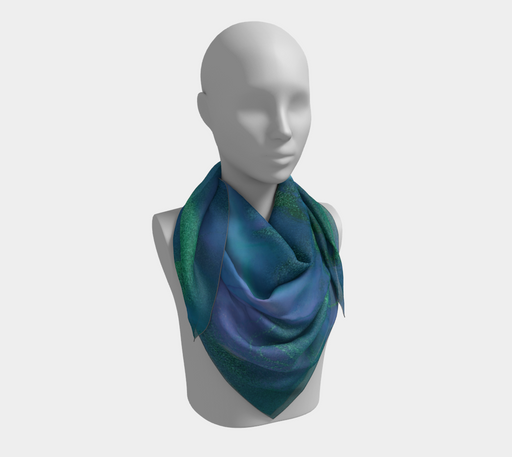 Watercolor Swirls P - Blues & Greens, Square Scarf