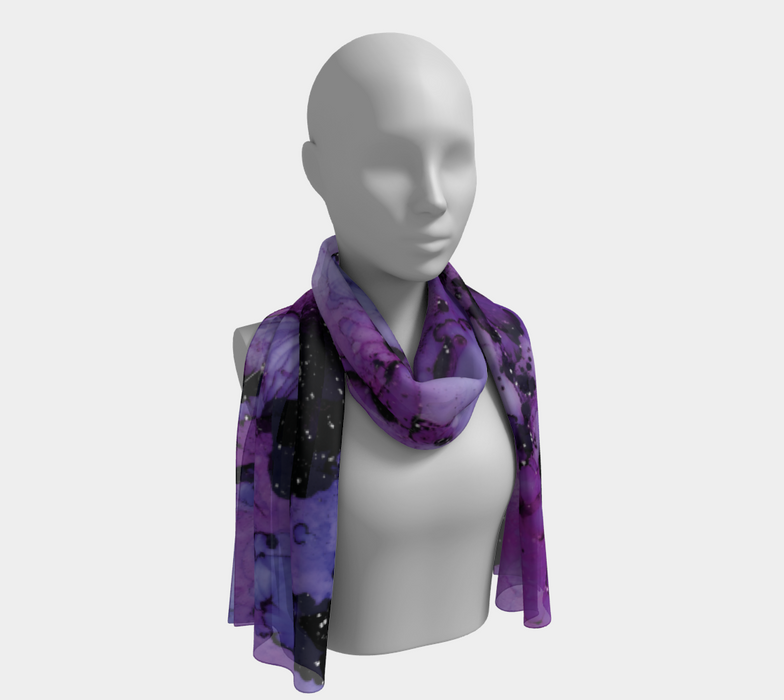 Watercolor Swirls M - Purple & Black,  Long Scarf