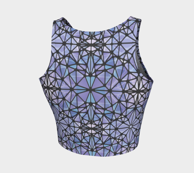 Purple and Blue Kaleidoscope Athletic Crop Top