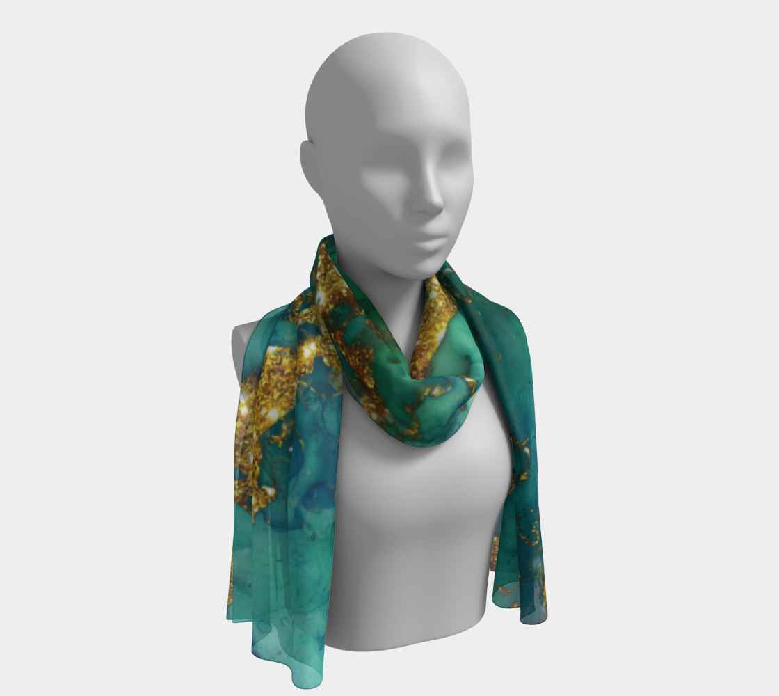 Watercolor Swirls D - Turquoise & Gold, Long Scarf