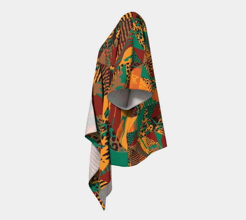 Abstract Safari Print Draped Kimono