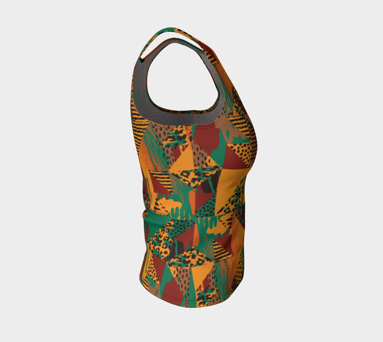 Abstract Safari Print Fitted Tank Top
